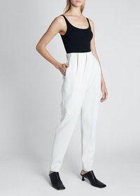Proenza Schouler Stretch Suiting Draped-Front Pant