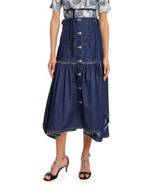 Chloe Distressed Denim Midi Skirt