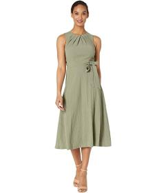 Calvin Klein Belted Midi Dress with Bodice Pleat D
