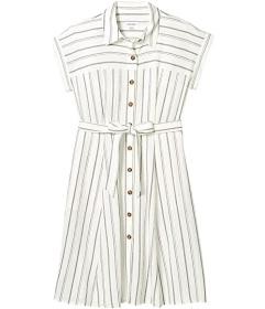 Calvin Klein Short Sleeve Striped Shirtdress with