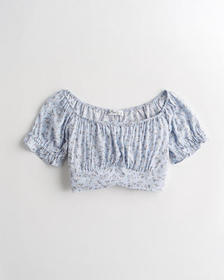 Hollister Puff-Sleeve Off-The Shoulder Crop Top, B