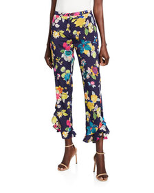 Etro Exotic Floral-Print Stretch Silk Ruffle Pants