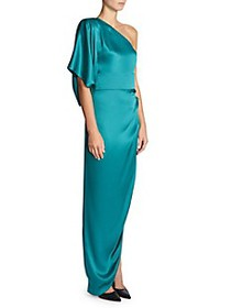 Rena Lange One-Shoulder Draped Silk Gown