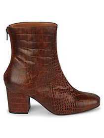 Free People Cecile Croc-Print Leather Ankle Boots