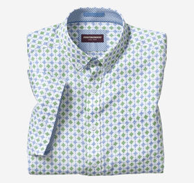 Johnston Murphy Linear Diamond Print Short-Sleeve