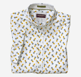 Johnston Murphy Pineapple Print Short-Sleeve Shirt