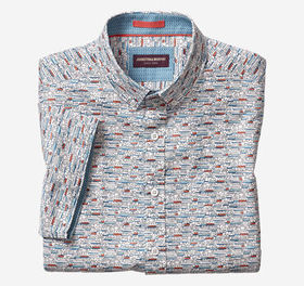 Johnston Murphy Steamboat Print Short-Sleeve Shirt