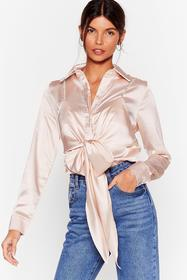 Nasty Gal Blush Cami for Love Satin Tie Blouse