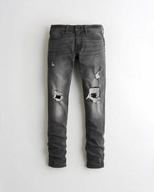 Hollister Stacked Skinny Jeans, RIPPED KNEE DARK G