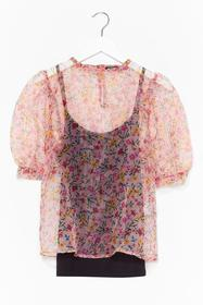 Nasty Gal Coral Grow Old With Me Organza Floral To