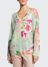 Etro Sequined Lily Print V-Neck Tunic