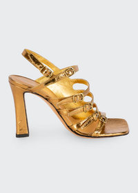 Dries Van Noten Metallic Leather Strappy Sandals