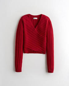 Hollister Wrap-Front Sweater, RED