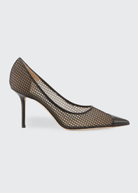 Jimmy Choo Love 85mm Mesh And Leather Pumps