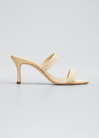 Manolo Blahnik Riesamu Two-Band Perforated Leather