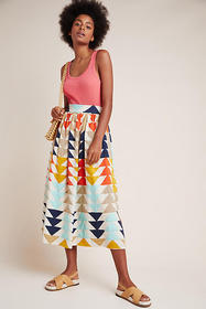 Anthropologie Gianna Abstract Maxi Skirt