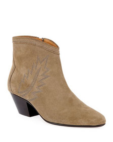 Isabel Marant Dacken Suede Booties with Flame Stit