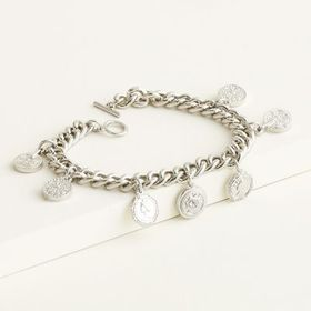 Elizabeth and James Coin Charm Thick Chain Bracele