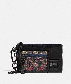 Coach double pouch lanyard with horse and carriage