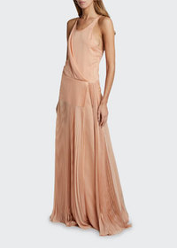 Chloe Pleated Satin Wrap Maxi Dress