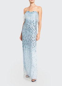 Pamella Roland 3D-Flower Embroidered Strapless Gow