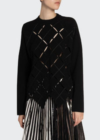 Proenza Schouler Argyle Cutout Long-Sleeve Top