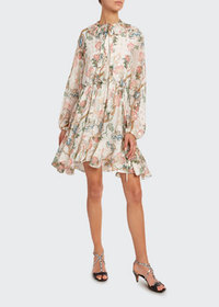 Chloe Flower Print Metallic-Jacquard Shirtdress