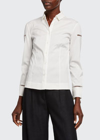 Akris Ladder-Inset Poplin Shirt