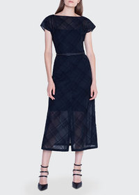 Akris Plaid Embroidered Boat-Neck Dress