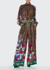 Camilla Animal Print Silk Wide-Leg Pants