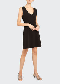 Theory Double Crepe Scoop-Neck Flounce Dress