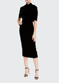 Brandon Maxwell Silk Midi Mock-Neck Dress