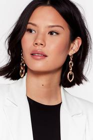 Nasty Gal Gold Chain of Events Drop Earrings