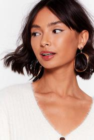 Nasty Gal Gold You're Going Down Hammered Hoop Ear