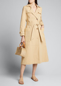 Nanushka Alex Belted Trench Coat with Woven Panels