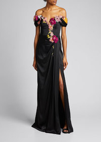 Marchesa Floral Embroidered Organza Off-the-Should