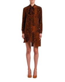 No. 21 Snake-Print Tie-Neck Asymmetrical Short Dre