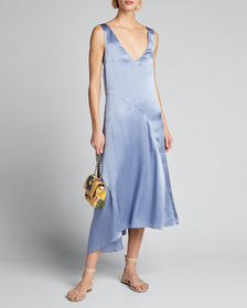 Vince Double V-Neck Asymmetric Seamed Slip Dress