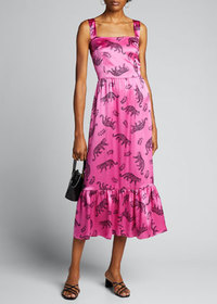HVN Olympia Sleeveless Gown with Ruffle Hem