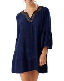 Tommy Bahama Bell-Sleeve Beaded Trim Crinkle Tunic