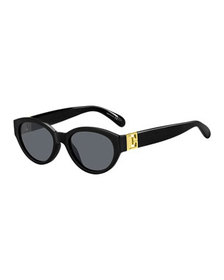 Givenchy Oval Acetate Sunglasses w/ Metal Logo Hin