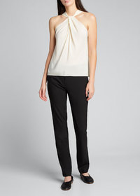 Theory Twist-Front Silk Top