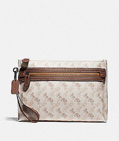 Coach academy pouch with horse and carriage print
