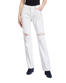7 For All Mankind Low-Rise Distressed Straight-Leg