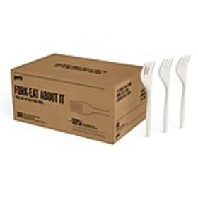Perk™ Compostable Plastic Fork, Medium-Weight, Whi