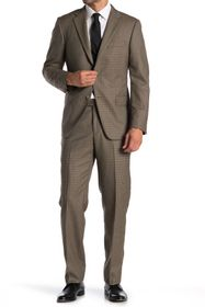 Hickey Freeman Tan Houndstooth Two Button Notch La