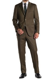 Hickey Freeman Solid Two Button Notch Lapel Suit
