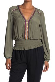 Ramy Brook Jude Embroidered Smocked Blouse