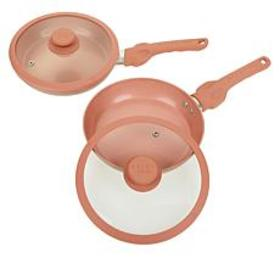 """As Is"" Safe-T-Grip 2-pack 9"" Fry Pan Set with Lid"