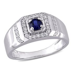 AmourSterling Silver 5/8 CT TGW Created Blue Sapph